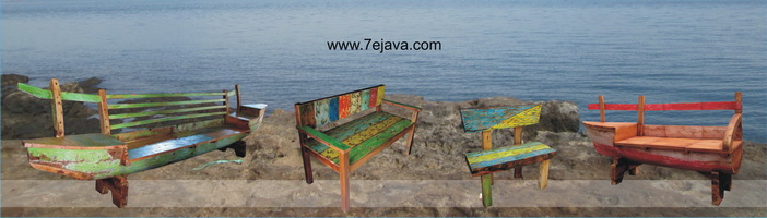 Recycled Boat Wood Furniture Bench