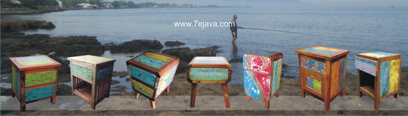 Recycled boat wood furniture Table Side Nakas