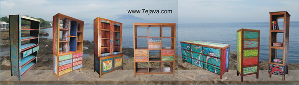 Recycled boat wood furniture  Cabinet