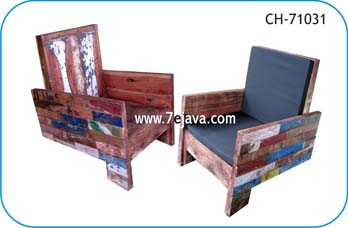recycled boat wood chair